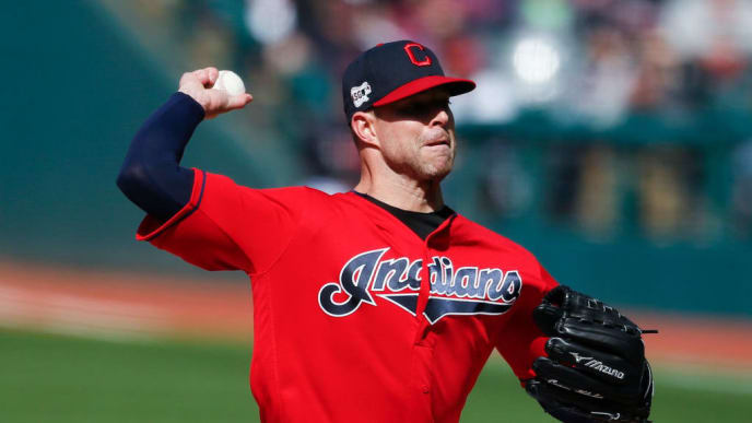 CLEVELAND, OH - APRIL 20: Starting pitcher Corey Kluber #28 of the Cleveland Indians pitches against the Atlanta Braves during the first inning of Game One of a doubleheader at Progressive Field on April 20, 2019 in Cleveland, Ohio. (Photo by Ron Schwane/Getty Images)