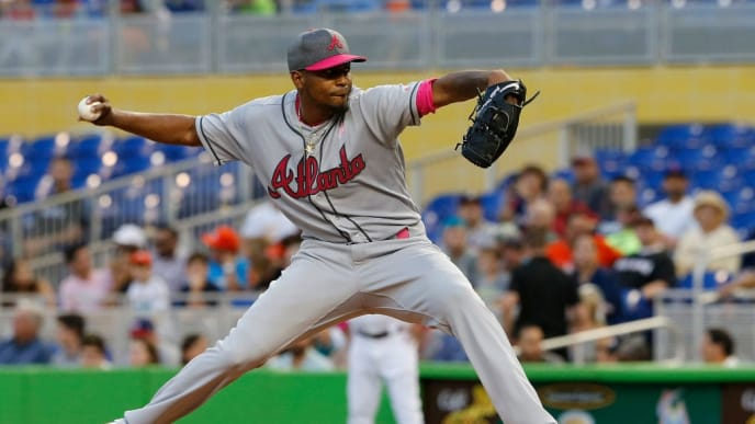 MIAMI, FL - MAY 13:  Starting pitcherJulio Teheran #49 of the Atlanta Braves throws in the first inning against the Miami Marlins at Marlins Park on May 13, 2017 in Miami, Florida. (Photo by Joe Skipper/Getty Images)