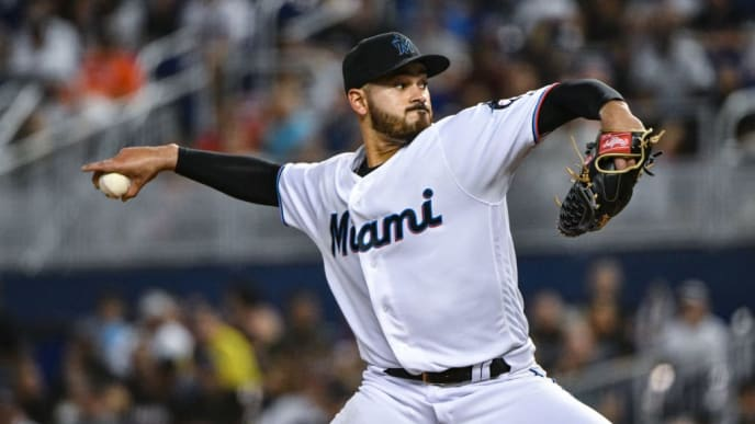 MIAMI, FL - JUNE 09: Pablo Lopez #49 of the Miami Marlins delivers a pitch in the third inning against the Atlanta Braves at Marlins Park on June 9, 2019 in Miami, Florida. (Photo by Mark Brown/Getty Images)