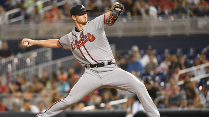 MIAMI, FL - JUNE 07: Mike Soroka #40 of the Atlanta Braves delivers a pitch in the third inning against the Miami Marlins at Marlins Park on June 7, 2019 in Miami, Florida. (Photo by Mark Brown/Getty Images)