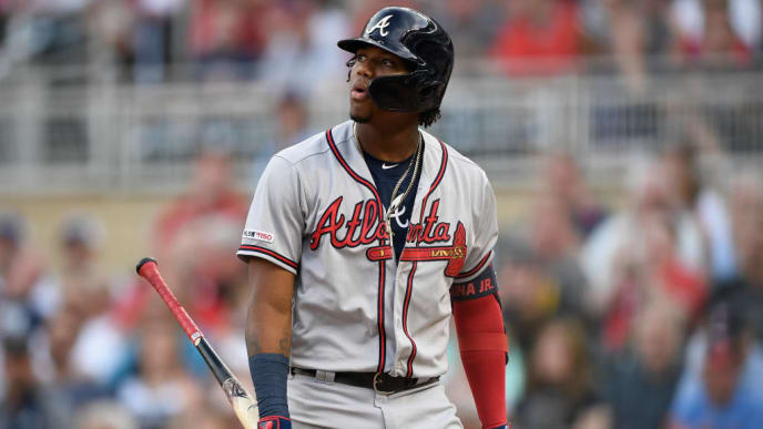 MINNEAPOLIS, MN - AUGUST 05: Ronald Acuna Jr. #13 of the Atlanta Braves reacts to striking out against the Minnesota Twins during the first inning of the interleague game on August 5, 2019 at Target Field in Minneapolis, Minnesota. The Twins defeated the Braves 5-3. (Photo by Hannah Foslien/Getty Images)