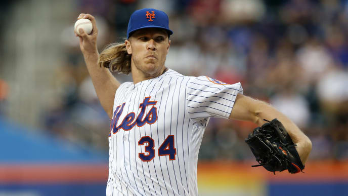 NEW YORK, NEW YORK - JUNE 30:   Noah Syndergaard #34 of the New York Mets pitches during the second inning against the Atlanta Braves at Citi Field on June 30, 2019 in New York City. (Photo by Jim McIsaac/Getty Images)