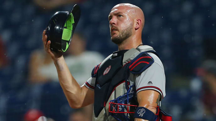 PHILADELPHIA, PA - SEPTEMBER 11: Tyler Flowers #25 of the Atlanta Braves in action against the Philadelphia Phillies during a game at Citizens Bank Park on September 11, 2019 in Philadelphia, Pennsylvania. (Photo by Rich Schultz/Getty Images)