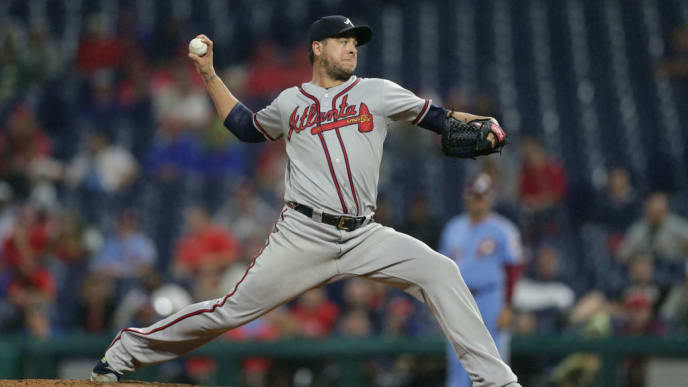 PHILADELPHIA, PA - SEPTEMBER 12: Anthony Swarzak #38 of the Atlanta Braves throws a pitch in the eighth inning during a game against the Philadelphia Phillies at Citizens Bank Park on September 12, 2019 in Philadelphia, Pennsylvania. The Phillies won 9-5. (Photo by Hunter Martin/Getty Images)