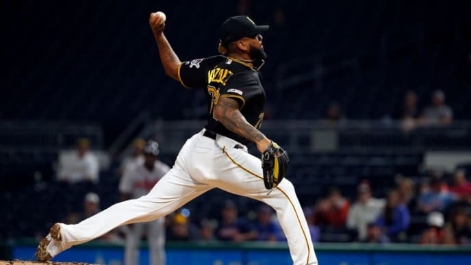 PITTSBURGH, PA - JUNE 05:  Felipe Vazquez #73 of the Pittsburgh Pirates pitches in the ninth inning against the Atlanta Braves at PNC Park on June 5, 2019 in Pittsburgh, Pennsylvania.  (Photo by Justin K. Aller/Getty Images)
