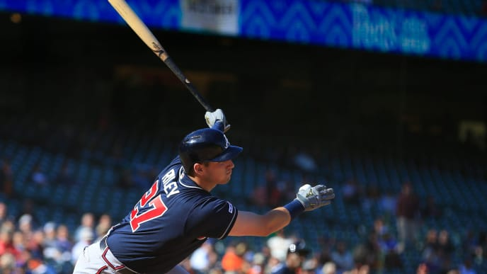 SAN FRANCISCO, CALIFORNIA - MAY 23: Austin Riley #27 of the Atlanta Braves hits an RBI single in the 13th inning against the San Francisco Giants at Oracle Park on May 23, 2019 in San Francisco, California. (Photo by Daniel Shirey/Getty Images)