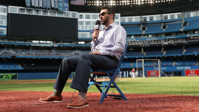 TORONTO, ON - JUNE 19: General manager Alex Anthopoulos of the Atlanta Braves does an interview with Sportsnet before the start of MLB game action against the Toronto Blue Jays at Rogers Centre on June 19, 2018 in Toronto, Canada. (Photo by Tom Szczerbowski/Getty Images)