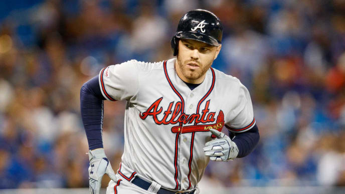 TORONTO, ONTARIO - AUGUST 28: Freddie Freeman #5 of the Atlanta Braves rounds the bases on his home run against the Toronto Blue Jays in the ninth inning at the Rogers Centre on August 28, 2019 in Toronto, Canada. (Photo by Mark Blinch/Getty Images)
