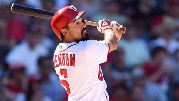 WASHINGTON, DC - SEPTEMBER 14:  Anthony Rendon #6 of the Washington Nationals takes a swing during a baseball game against the Atlanta Braves at Nationals Park on September 14, 2019 in Washington, DC.  (Photo by Mitchell Layton/Getty Images)