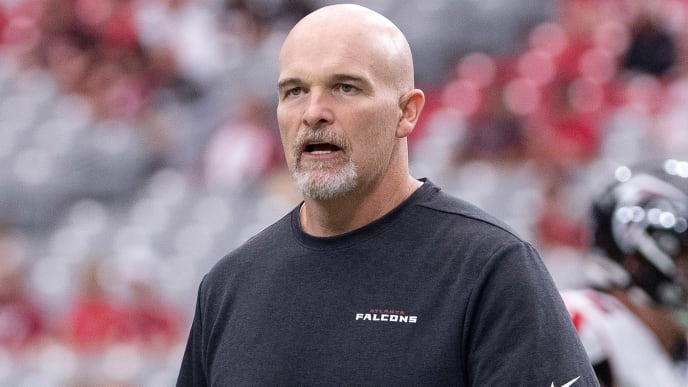GLENDALE, ARIZONA - OCTOBER 13: Head coach Dan Quinn of the Atlanta Falcons walks on the field prior to the NFL game against the Arizona Cardinals at State Farm Stadium on October 13, 2019 in Glendale, Arizona. The Cardinals defeated the Falcons 34-33. (Photo by Jennifer Stewart/Getty Images)
