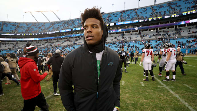 CHARLOTTE, NORTH CAROLINA - DECEMBER 23: Cam Newton #1 of the Carolina Panthers walks off the field after being defeated by the Atlanta Falcons 24-10 at Bank of America Stadium on December 23, 2018 in Charlotte, North Carolina. (Photo by Streeter Lecka/Getty Images)