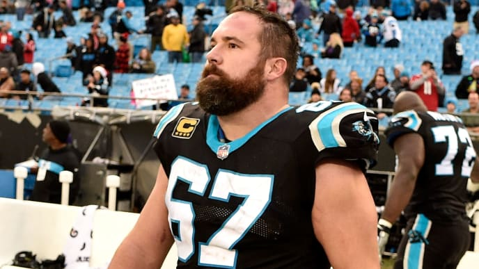 CHARLOTTE, NORTH CAROLINA - DECEMBER 23: Ryan Kalil #67 of the Carolina Panthers leaves the field after their game against the Atlanta Falcons at Bank of America Stadium on December 23, 2018 in Charlotte, North Carolina. (Photo by Grant Halverson/Getty Images)