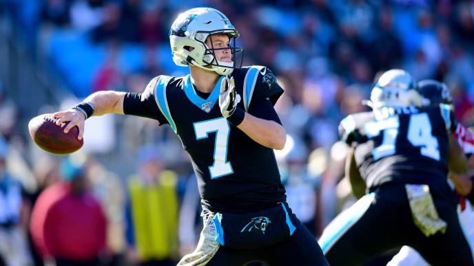 CHARLOTTE, NORTH CAROLINA - NOVEMBER 17: Kyle Allen #7 of the Carolina Panthers during the first half during their game against the Atlanta Falcons at Bank of America Stadium on November 17, 2019 in Charlotte, North Carolina. (Photo by Jacob Kupferman/Getty Images)