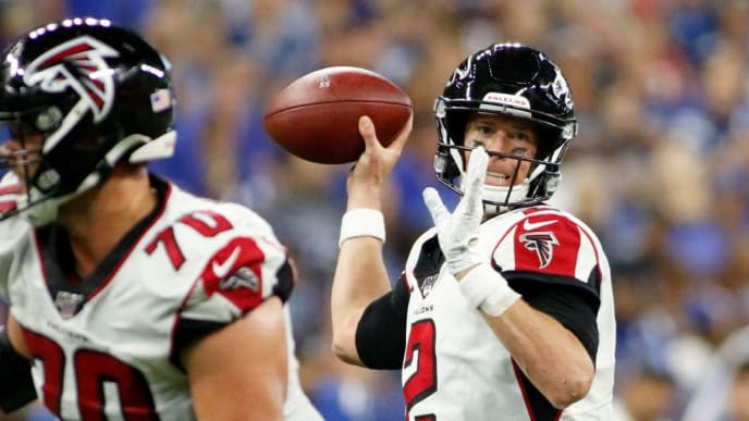 INDIANAPOLIS, INDIANA - SEPTEMBER 22: Matt Ryan #2 of the Atlanta Falcons throws a pass during the fourth quarter in the game against the Indianapolis Colts at Lucas Oil Stadium on September 22, 2019 in Indianapolis, Indiana. (Photo by Justin Casterline/Getty Images)