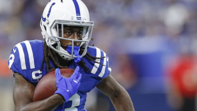 INDIANAPOLIS, IN - SEPTEMBER 22: T.Y. Hilton #13 of the Indianapolis Colts runs the ball during the first half against the Atlanta Falcons at Lucas Oil Stadium on September 22, 2019 in Indianapolis, Indiana. (Photo by Michael Hickey/Getty Images)