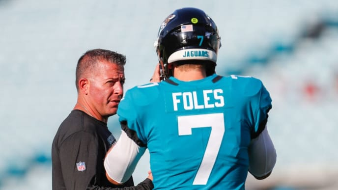 JACKSONVILLE, FLORIDA - AUGUST 29: Nick Foles #7 of the Jacksonville Jaguars talks with Offensive Coordinator John DeFilippo before a preseason game against the Atlanta Falcons at TIAA Bank Field on August 29, 2019 in Jacksonville, Florida. (Photo by James Gilbert/Getty Images)