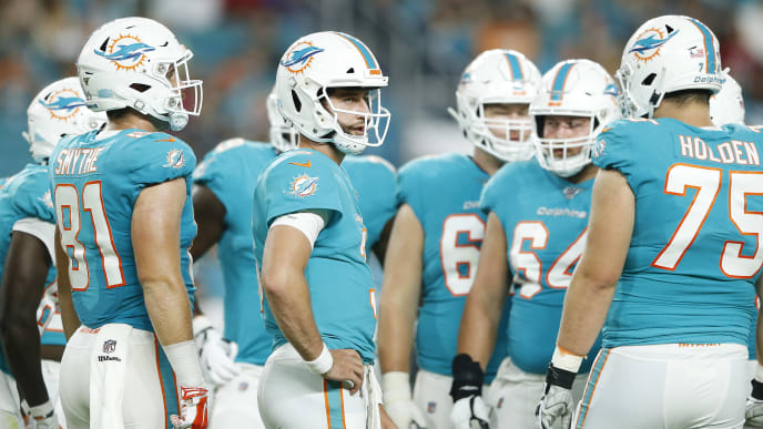 MIAMI, FLORIDA - AUGUST 08:  Josh Rosen #3 of the Miami Dolphins looks on in the huddle against the Atlanta Falcons during the first quarter of the preseason game at Hard Rock Stadium on August 08, 2019 in Miami, Florida. (Photo by Michael Reaves/Getty Images)