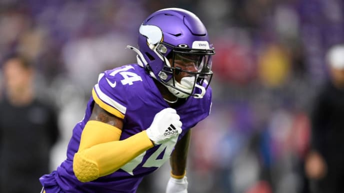 MINNEAPOLIS, MINNESOTA - SEPTEMBER 08: Wide receiver Stefon Diggs #14 of the Minnesota Vikings warms up against the Atlanta Falcons before the game at U.S. Bank Stadium on September 08, 2019 in Minneapolis, Minnesota. (Photo by Hannah Foslien/Getty Images)
