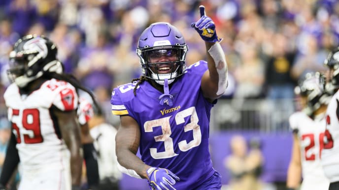 MINNEAPOLIS, MN - SEPTEMBER 8: Dalvin Cook #33 of the Minnesota Vikings points to the crowd after scoring a touchdown in the third quarter of the game against the Atlanta Falcons at U.S. Bank Stadium on September 8, 2019 in Minneapolis, Minnesota. (Photo by Stephen Maturen/Getty Images)