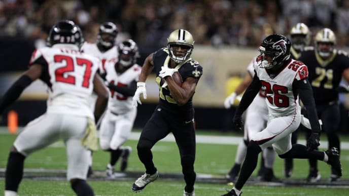 NEW ORLEANS, LOUISIANA - NOVEMBER 10: Michael Thomas #13 of the New Orleans Saints is tackled by Isaiah Oliver #26 of the Atlanta Falcons at Mercedes Benz Superdome on November 10, 2019 in New Orleans, Louisiana. (Photo by Chris Graythen/Getty Images)