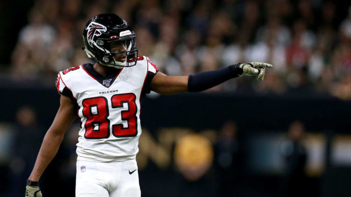 NEW ORLEANS, LOUISIANA - NOVEMBER 10: Russell Gage #83 of the Atlanta Falcons in action during a NFL game against the New Orleans Saints at the Mercedes Benz Superdome on November 10, 2019 in New Orleans, Louisiana. (Photo by Sean Gardner/Getty Images)