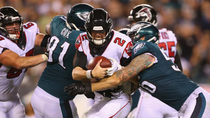 PHILADELPHIA, PA - SEPTEMBER 06:  Matt Ryan #2 of the Atlanta Falcons is sacked by Chris Long #56 of the Philadelphia Eagles during the fourth quarter at Lincoln Financial Field on September 6, 2018 in Philadelphia, Pennsylvania.  (Photo by Mitchell Leff/Getty Images)