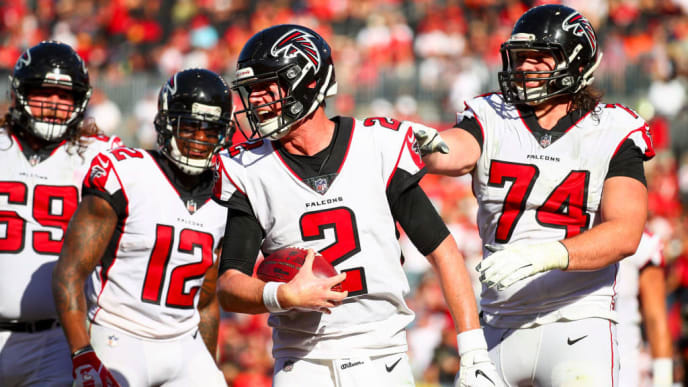 TAMPA, FL - DECEMBER 30: Quarterback Matt Ryan #2 of the Atlanta Falcons celebrates with offensive tackle Ty Sambrailo #74 after the touchdown pass from wide receiver Mohamed Sanu #12 in the third quarter of the game at Raymond James Stadium on December 30, 2018 in Tampa, Florida. (Photo by Will Vragovic/Getty Images)