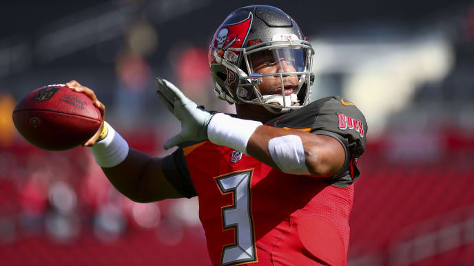 TAMPA, FL - DECEMBER 30: Quarterback Jameis Winston #3 of the Tampa Bay Buccaneers warms up before the game against the Atlanta Falcons at Raymond James Stadium on December 30, 2018 in Tampa, Florida. (Photo by Will Vragovic/Getty Images)