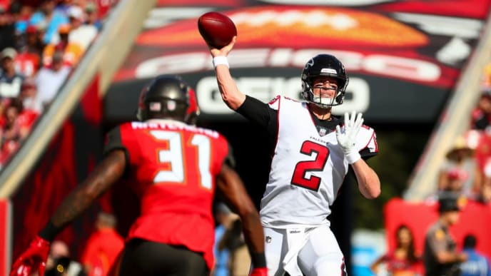 TAMPA, FL - DECEMBER 30: Quarterback Matt Ryan #2 of the Atlanta Falcons drops back to pass in the first quarter of the game against the Tampa Bay Buccaneers at Raymond James Stadium on December 30, 2018 in Tampa, Florida. (Photo by Will Vragovic/Getty Images)