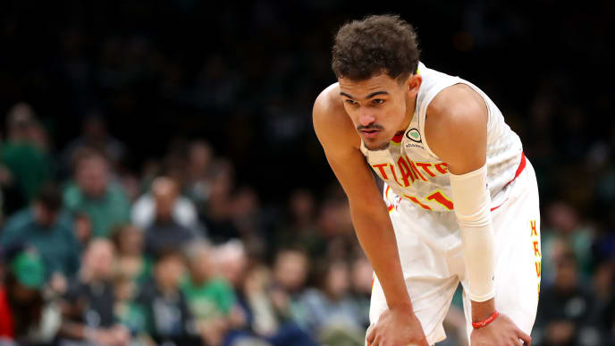 BOSTON, MASSACHUSETTS - MARCH 16: Trae Young #11 of the Atlanta Hawks looks on during the second half against the Boston Celtics at TD Garden on March 16, 2019 in Boston, Massachusetts. The Celtics defeat the Hawks 129-120. (Photo by Maddie Meyer/Getty Images)