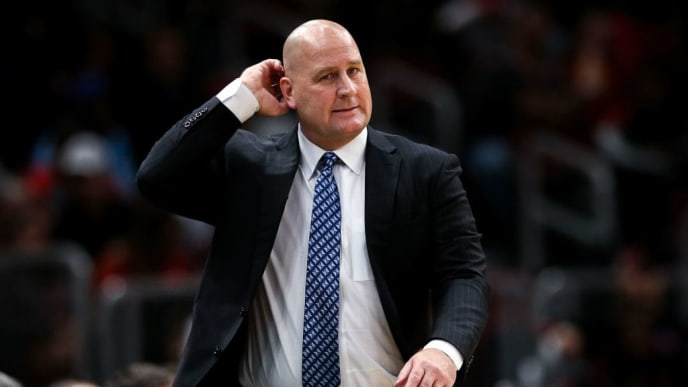 CHICAGO, ILLINOIS - OCTOBER 17:  Head coach Jim Boylen of the Chicago Bulls looks on in the second quarter against the Atlanta Hawks during a preseason game at the United Center on October 17, 2019 in Chicago, Illinois. NOTE TO USER: User expressly acknowledges and agrees that, by downloading and/or using this photograph, user is consenting to the terms and conditions of the Getty Images License Agreement. (Photo by Dylan Buell/Getty Images)