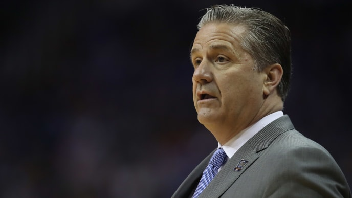 KANSAS CITY, MISSOURI - MARCH 31: Head coach John Calipari of the Kentucky Wildcats reacts to a play against the Auburn Tigers during the 2019 NCAA Basketball Tournament Midwest Regional at Sprint Center on March 31, 2019 in Kansas City, Missouri. (Photo by Christian Petersen/Getty Images)