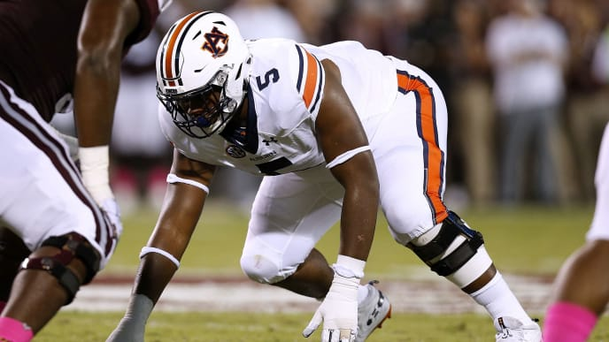 STARKVILLE, MS - OCTOBER 06: Derrick Brown #5 of the Auburn Tigers defends during a game against the Mississippi State Bulldogs at Davis Wade Stadium on October 6, 2018 in Starkville, Mississippi.  (Photo by Jonathan Bachman/Getty Images)