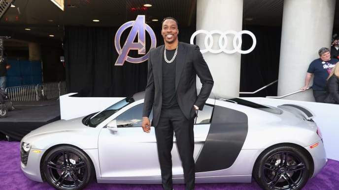 """HOLLYWOOD, CA - APRIL 22:  Dwight Howard attends Audi Arrives At The World Premiere Of """"Avengers: Endgame"""" on April 22, 2019 in Hollywood, California.  (Photo by Joe Scarnici/Getty Images for Audi)"""