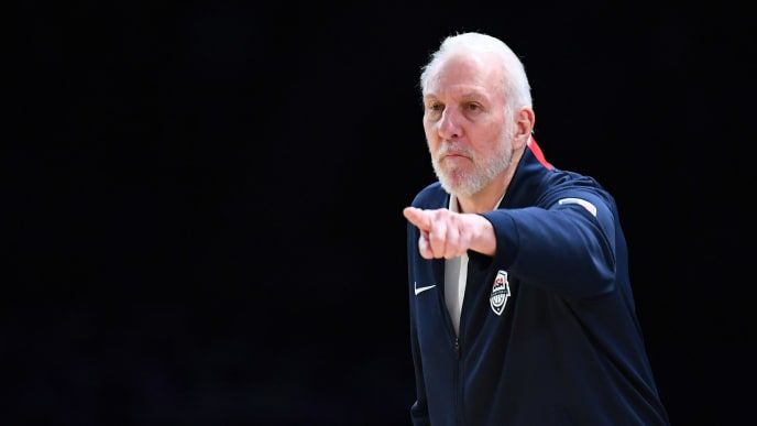 MELBOURNE, AUSTRALIA - AUGUST 22: Gregg Popovic the coach of the USA gives instructions during the International Basketball Friendly match between the Australian Boomers and Team USA United States of America at Marvel Stadium on August 22, 2019 in Melbourne, Australia. (Photo by Quinn Rooney/Getty Images)
