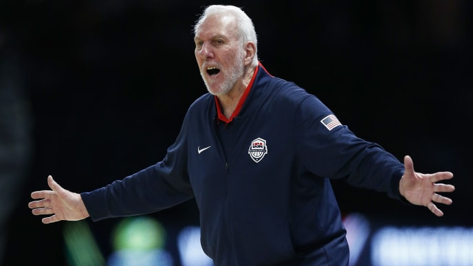 MELBOURNE, AUSTRALIA - AUGUST 24: Gregg Popovich the Head Coach of the USA National Team reacts during game two of the International Basketball series between the Australian Boomers and United States of America at Marvel Stadium on August 24, 2019 in Melbourne, Australia. (Photo by Daniel Pockett/Getty Images)
