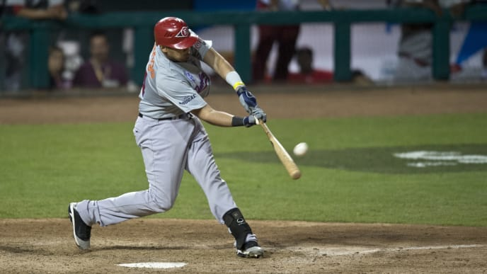 Francisco Peña of Leones del Escogido of Dominican Republic, bats against Magallanes of Venezuela, during the 2013 Caribbean baseball series, on February 6, 2013, in Hermosillo, Sonora State, in the northern of Mexico. AFP PHOTO/Ronaldo Schemidt        (Photo credit should read Ronaldo Schemidt/AFP via Getty Images)