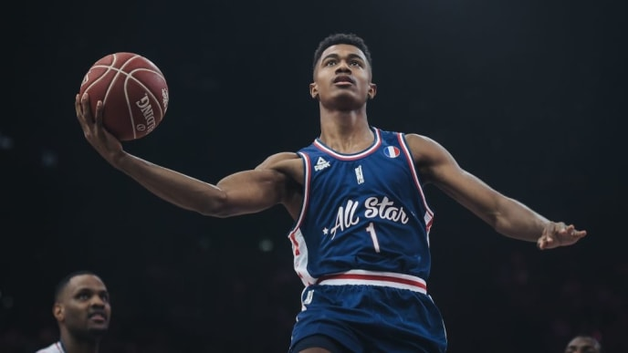 France's Theo Maledon on his way to score a point during an All Star Game basketball match of the French Ligue Nationale de Basket (LNB) between a selection of the best international players from the Pro A league against a selection of the best French players, at the AccorHotels Arena, in Paris on December 29, 2018. - The LNB All Star Game is an exhibition match between a team of the best French players and a team of the best international players of the French Elite basketball league. (Photo by Lucas BARIOULET / AFP)        (Photo credit should read LUCAS BARIOULET/AFP/Getty Images)