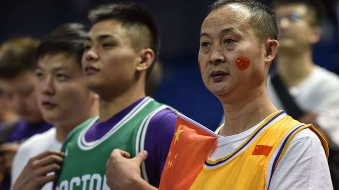 Fans wait for the start of the National Basketball Association (NBA) pre-season match between the Los Angeles Lakers and the Brooklyn Nets at Mercedes Benz Arena in Shanghai on October 10, 2019. (Photo by HECTOR RETAMAL / AFP) (Photo by HECTOR RETAMAL/AFP via Getty Images)