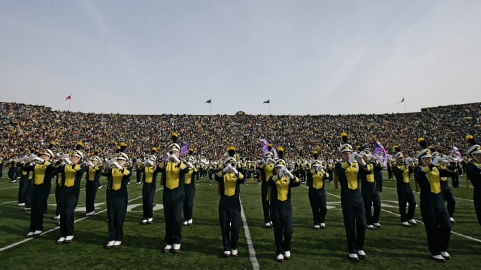 ANN ARBOR, MI - NOVEMBER 04:  The Michigan Wolverines Marching Band performs during halftime of a game against Ball State on November 4, 2006 at Michigan Stadium in Ann Arbor, Michigan.  Michigan won 34-26.  (Photo by Brian Bahr/Getty Images)