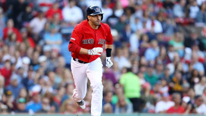 BOSTON, MASSACHUSETTS - SEPTEMBER 29: J.D. Martinez #28 of the Boston Red Sox runs towards first during the sixth inning against the Baltimore Orioles at Fenway Park on September 29, 2019 in Boston, Massachusetts. (Photo by Maddie Meyer/Getty Images)