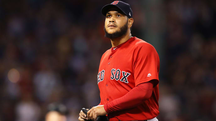 BOSTON, MASSACHUSETTS - AUGUST 17: Eduardo Rodriguez #57 of the Boston Red Sox looks on after being relieved during the eighth inning against the Baltimore Orioles at Fenway Park on August 17, 2019 in Boston, Massachusetts. (Photo by Maddie Meyer/Getty Images)