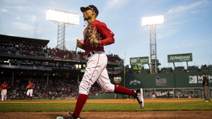 BOSTON, MA - SEPTEMBER 29:  Mookie Betts #50 of the Boston Red Sox runs toward the dugout during the ninth inning of a game against the Baltimore Orioles on September 29, 2019 at Fenway Park in Boston, Massachusetts. (Photo by Billie Weiss/Boston Red Sox/Getty Images)
