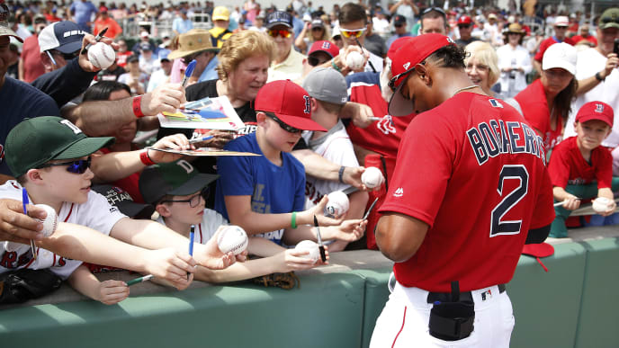 FORT MYERS, FLORIDA - FEBRUARY 27:  Xander Bogaerts #2 of the Boston Red Sox signs autographs for fans prior to the Grapefruit League spring training game against the Baltimore Orioles at JetBlue Park at Fenway South on February 27, 2019 in Fort Myers, Florida. (Photo by Michael Reaves/Getty Images)