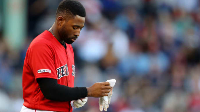 BOSTON, MASSACHUSETTS - SEPTEMBER 29: Jackie Bradley Jr. #19 of the Boston Red Sox looks on during the sixth inning at Fenway Park on September 29, 2019 in Boston, Massachusetts. (Photo by Maddie Meyer/Getty Images)