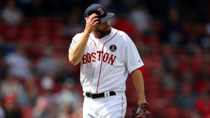 BOSTON, MASSACHUSETTS - APRIL 15: Tyler Thornburg #47 of the Boston Red Sox walks to the dugout after pitching during the ninth inning against the Baltimore Orioles at Fenway Park on April 15, 2019 in Boston, Massachusetts. All uniformed players and coaches are wearing number 42 in honor of Jackie Robinson Day.  (Photo by Maddie Meyer/Getty Images)