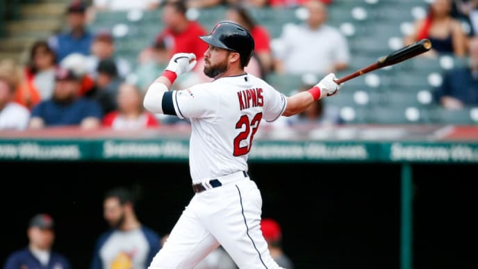 CLEVELAND, OH - MAY 16: Jason Kipnis #22 of the Cleveland Indians hits a solo home run off starting pitcher Dan Straily #53 of the Baltimore Orioles during the first inning at Progressive Field on May 16, 2019 in Cleveland, Ohio. (Photo by Ron Schwane/Getty Images)