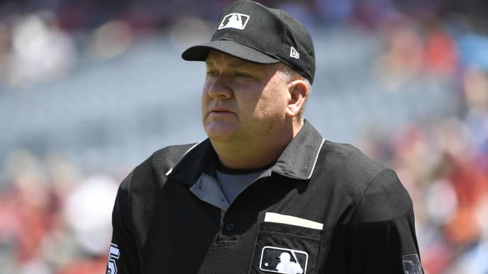ANAHEIM, CA - JULY 28: Home plate umpire Jeff Nelson called the gaem between the Los Angeles Angels of Anaheim and Baltimore Orioles at Angel Stadium of Anaheim on July 28, 2019 in Anaheim, California. (Photo by John McCoy/Getty Images)