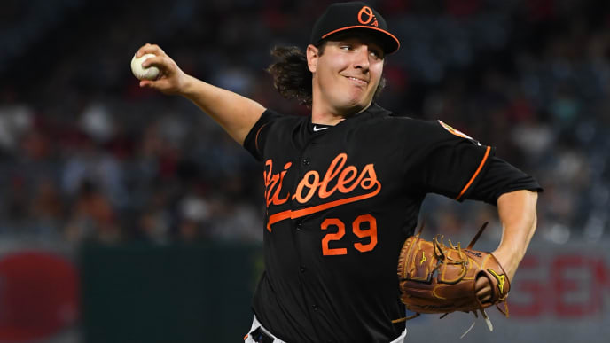 ANAHEIM, CA - JULY 26:  Asher Wojciechowski #29 of the Baltimore Orioles pitches in the seventh inning of the game against the Los Angeles Angels at Angel Stadium of Anaheim on July 26, 2019 in Anaheim, California. (Photo by Jayne Kamin-Oncea/Getty Images)