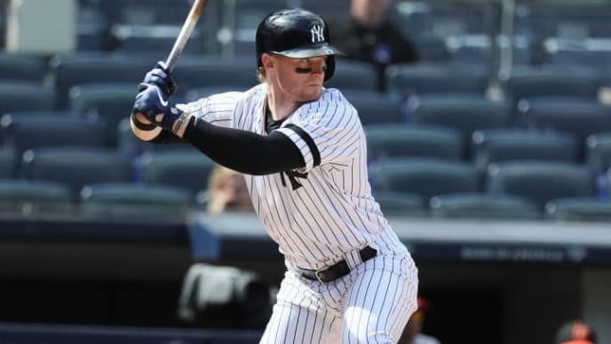 NEW YORK, NEW YORK - MAY 15:  Clint Frazier #77 of the New York Yankees bats against the Baltimore Orioles during their game at Yankee Stadium on May 15, 2019 in New York City. (Photo by Al Bello/Getty Images)